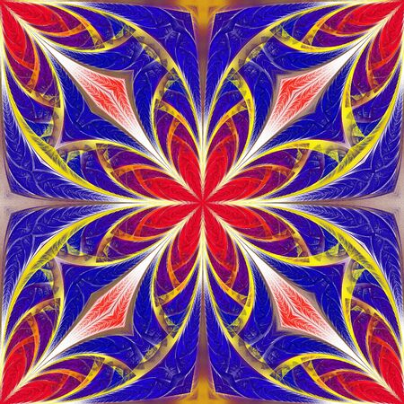 Beautiful multicolored flower pattern. You can use it for stained-glass window, tile, mosaic, ceramic, notebook covers, phone case, postcards, cards, wallpapers. Artwork for creative design, art.