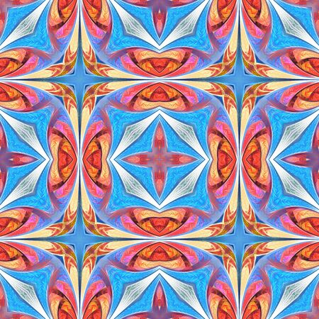 Seamless multicolored flower pattern. You can use it for stained-glass window, tile, mosaic, ceramic, notebook covers, phone case, postcards, cards, wallpapers. Artwork for creative design, art. Reklamní fotografie