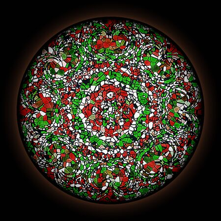 Colorful pattern in style of Gothic stained glass window with round frame. Abstract floral ornament. Stock fotó