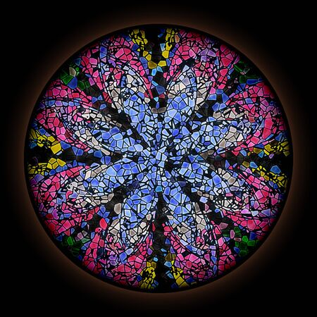Colorful pattern in style of Gothic stained glass window with round frame. Multicolored floral ornament. 版權商用圖片