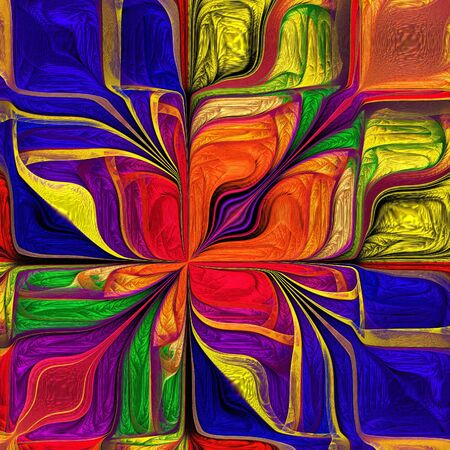 Multicolored Abstract Stylized flower. Modern art. You can use it for stained-glass window, tile, mosaic, ceramic, notebook covers, phone case, postcards, cards, wallpapers. Artwork for design, art. Фото со стока