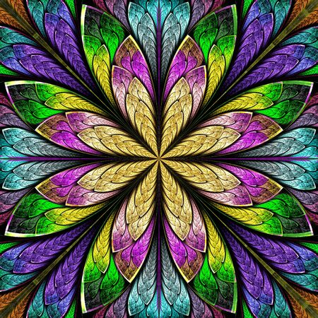 Multicolored Beautiful fractal flower in stained-glass window style. You can use it for invitations, notebook covers, phone case, postcards, cards, wallpapers and so on. Artwork for creative design, art and entertainment. Archivio Fotografico