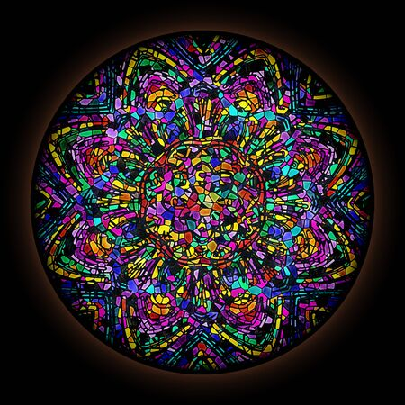 Colorful pattern in style of Gothic stained glass window with round frame. Abstract floral ornament.