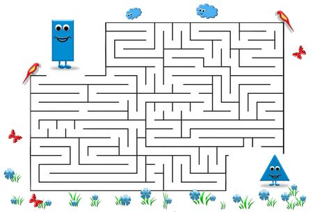 Funny maze game for Preschool Children. Illustration of logical education for children of preschool age. Reklamní fotografie