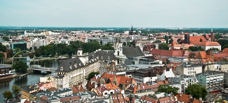 air view: Air view panorama with wroclaw (breslau), poland. Editorial
