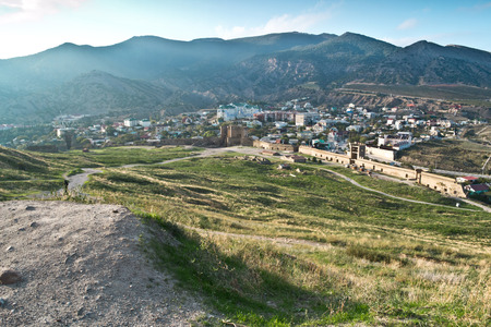 View of the Genoese fortress in the city of Sudak. Crimea. Ukraine.
