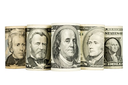 depicted: US presidents depicted on banknotes,  isolated on white background