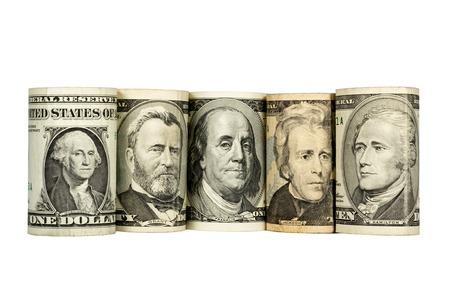 dinero falso: Presidentes de Estados Unidos representados en d�lares, aislados en fondo blanco