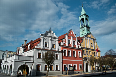 rynek: Poland - city view in Kluczbork. Buildings at the main square (Rynek).
