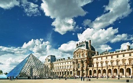 art museum: PARIS, FRANCE - 8 SEPTEMBER 2013: View of Louvre building in Louvre Museum. Museum is one of the largest and most visited museums worldwide. Editorial