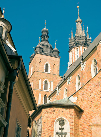 cloth halls: The cloth halls and the church of our lady in Krakow, Poland.