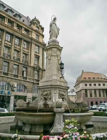 lviv: Fountain with Our Lady Statue, Lviv, Ukraine