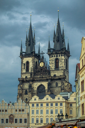 old town hall: Prague, Old Town Hall (15th Century), Town Square and Church of our Lady Tyn (1365). Stock Photo