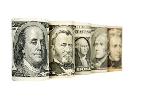 dinero falso: Estados Unidos los d�lares aislados sobre fondo blanco