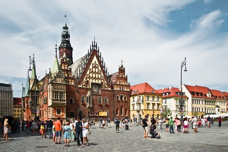 stary: WROCLAW POLAND - August  18 2013: The Old Town Hall (Stary Ratusz) stands at the center of the citys Market Square (Rynek) on August  18  in Wroclaw Editorial