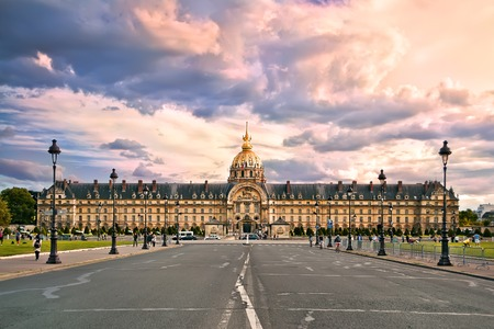 central europe: The National Residence of the Invalids in the evening. Paris, France.