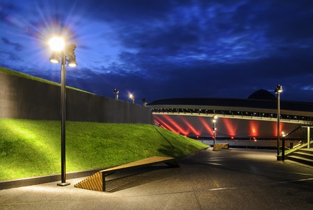conference centre: Modern architecture and International Conference Centre in the evening. Katowice . Poland.