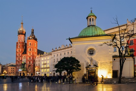 a nocturne: Rynek Glowny - The main square of Krakow, Poland Stock Photo