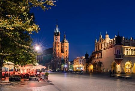 cracovia: Cafe on Rynek Glowny Square in Krakow, Poland. Stock Photo