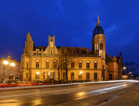 edifice: Chorzow near Katowice in Poland. Historic post office edifice built in XIX century in neo-Gothic style in the night.