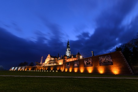 czestochowa: The Jasna Gora sanctuary in Czestochowa in the evening. The most important pilgrimage place in Poland. Editorial