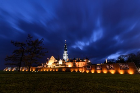 czestochowa: The Jasna Gora sanctuary in Czestochowa in the night. The most important pilgrimage place in Poland. Editorial