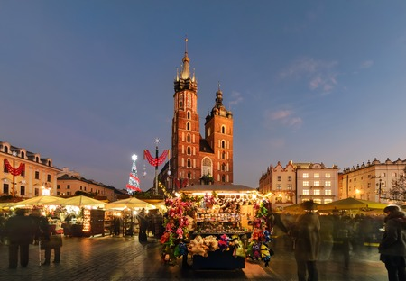 main market: Traditional street market in Main Market Square of the Old City in Krakow, Poland at Christmas.