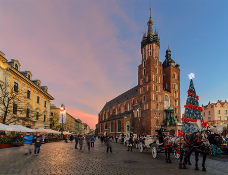 Market Square of the Old City in Krakow decorated by the christmas lights. Poland Editorial
