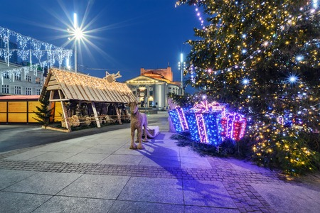main market: Traditional street market and Christmas tree in Main Market Square of the Katowice, Poland