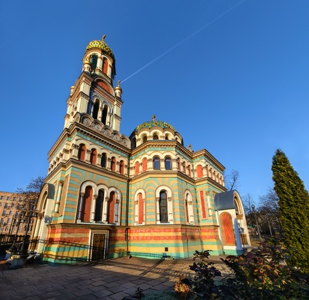 in copula: Orthodox Alexander Nevsky Cathedral in Lodz, Poland, in mid afternoon