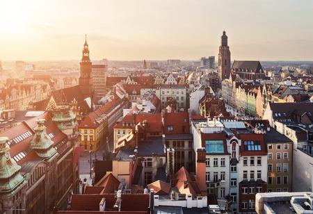 rynek: Panorama of the city skyline at sunset Wroclaw, Poland, Europe.