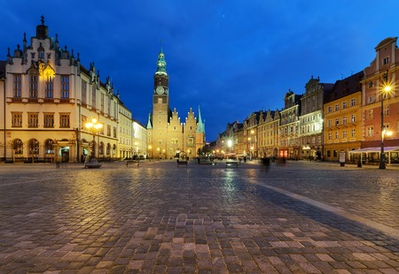 rynek: The market square in the evening time. Wroclaw, Poland. Europe