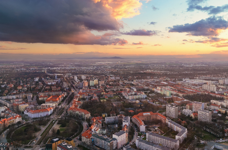 rynek: Panorama of the Wroclaw city at sunset  in Wroclaw, Poland, Europe.