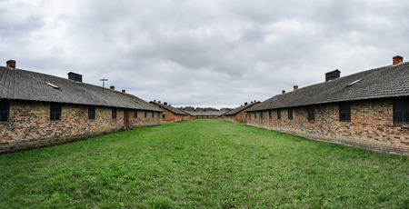 jewish community: Barracks in concentration camp - (Auschwitz II) in Poland, Europe.