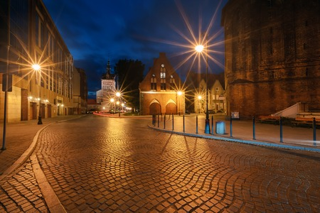 Ancient street in the centre of old town in Gdansk. Stock Photo