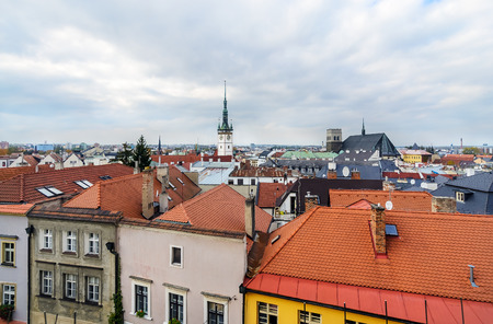 olomouc: Panorama of the city skyline with town hall in Olomouc,  Czech Republic. Europe. Stock Photo