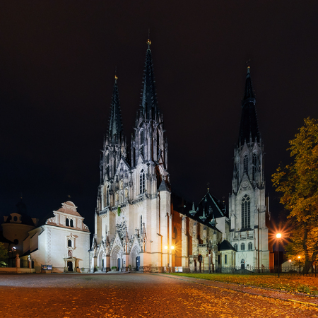 St.Wenceslas Cathedral in Olomouc in autumn. Czech Republic. Europe.