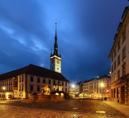 olomouc: Main squere of Olomouc, in the evening, Czech Republic. Europe.