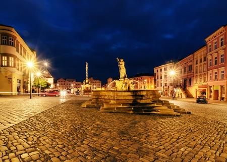 olomouc: Lower Square of Olomouc, in the evening, Czech Republic. Europe.