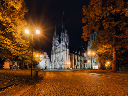 St.Wenceslas Cathedral in Olomouc in the evening, Czech Republic. Europe. Stock Photo