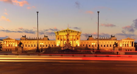 austria flag: Parlament of Austria on sunset, in central of Vienna. Austria. Europe. Stock Photo