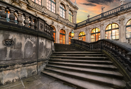 dresden: Stairwell in old town of Dresden in the evening. Germany, Europe.