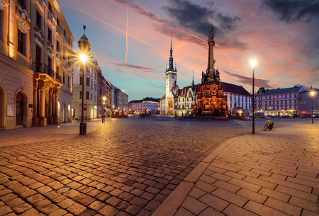 Town hall and Holy Trinity Column in Olomouc, Czech Republic during sunset. Stockfoto