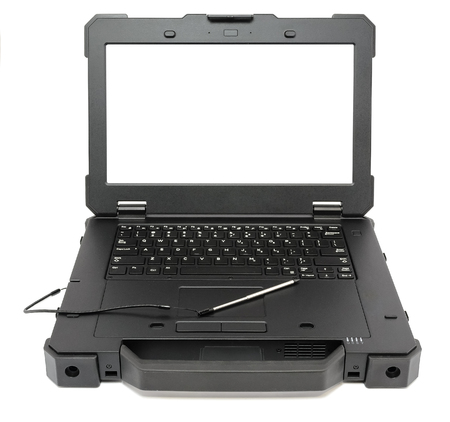 Fully Rugged Laptop with blank screen, isolated on a white background. Stock Photo