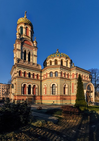 Orthodoxe Alexander Nevsky Cathedral in Lodz, Polen, in middag