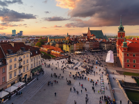 Royal castle and old town square at sunset in Poland, Europe