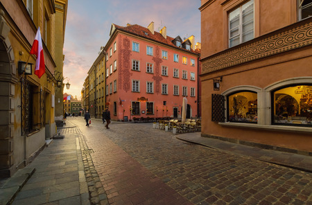 vintage street in the old town of Warsaw. Poland.
