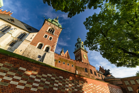 Castle towers on Wawel hill in sunny day. Krakow, Poland, Europe.