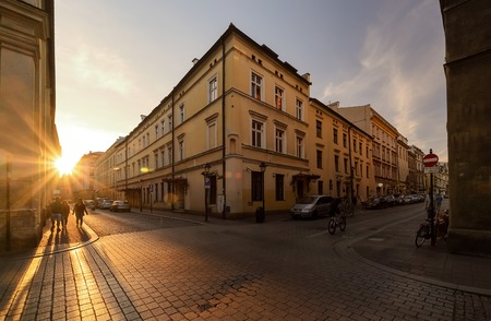 Vintage architecture in Krakow, Poland in the evening.