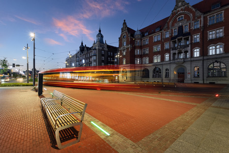 Central part of Katowice, and the tram light trails in the evening. Poland Zdjęcie Seryjne